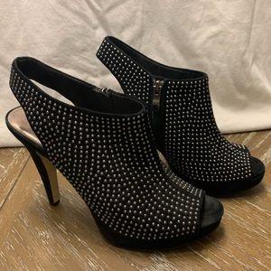 Reba Silver Studded Black Open Toe Bootie Heels